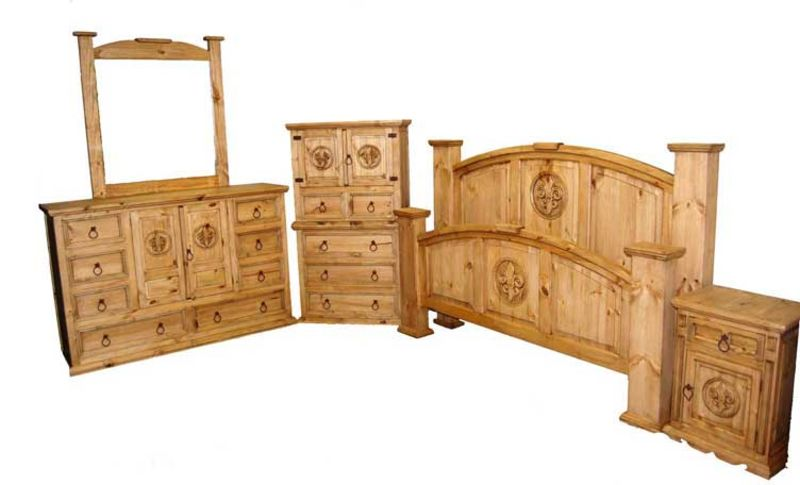 Mansion Rustic Bedroom Set with Fleur-de-Lis