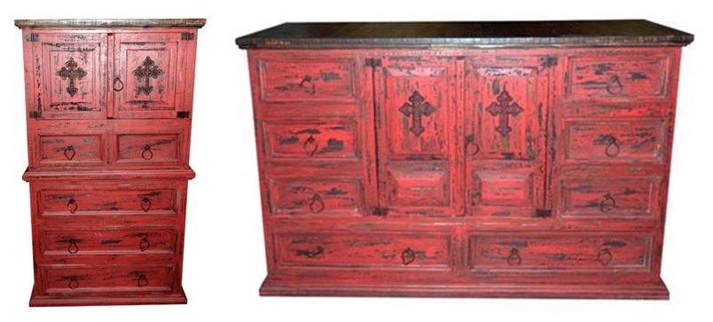 Red Scrape Rustic Bedroom Set with Cross
