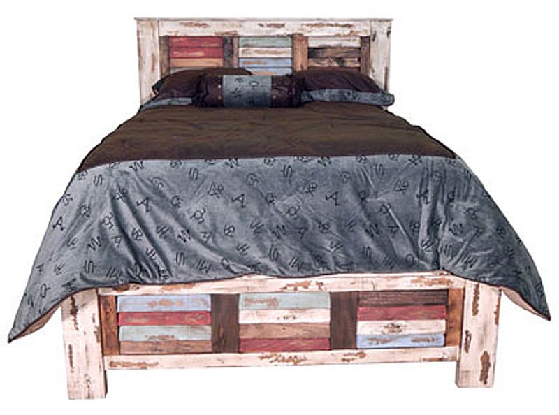Multicolor Louvered Rustic Bedroom Set