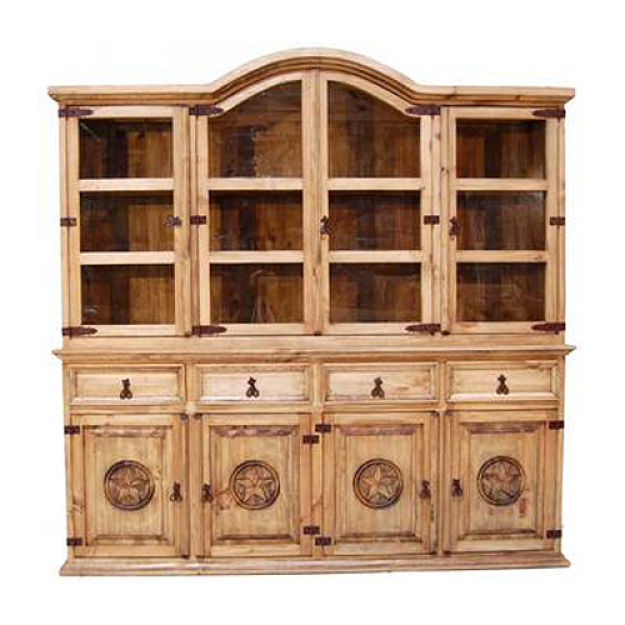Natural Finish Rustic China Cabinet