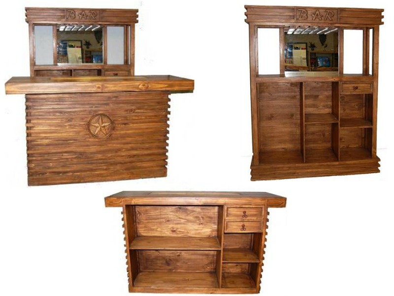 Rustic 2 Piece Bar Set in Pecan
