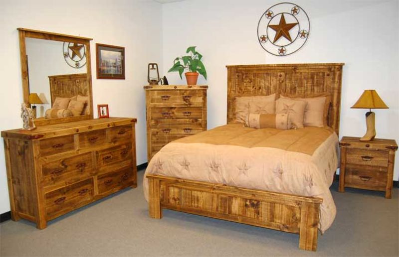 Natural Finish Reclaimed Wood Rustic Bedroom Set