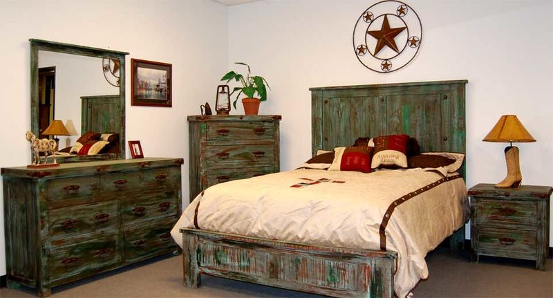 Painted Reclaimed Wood Rustic Bedroom Set
