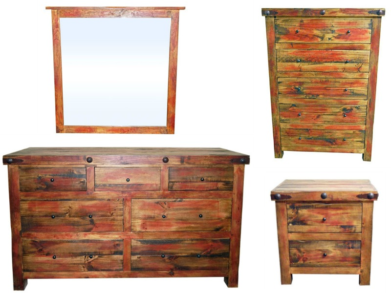 Red Rubbed Rustic Bedroom Set