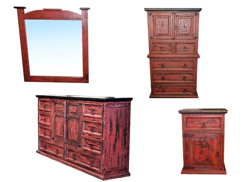 Red Scrape Rustic Bedroom Set