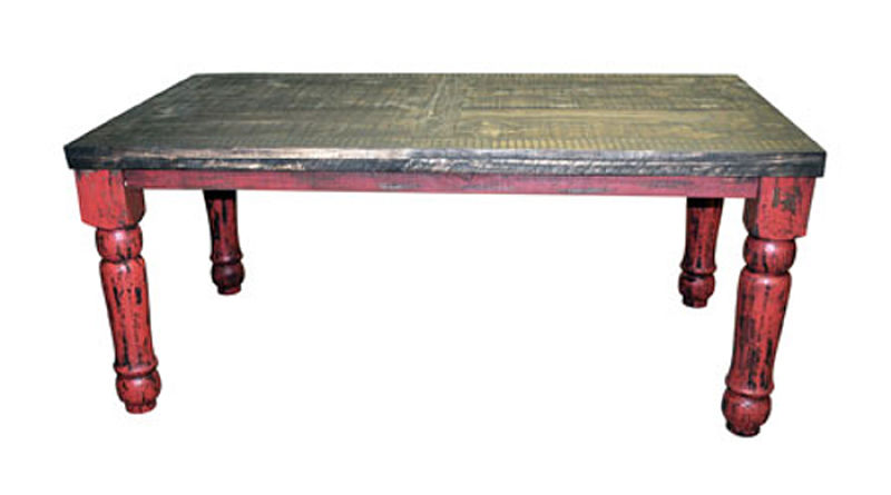 Red Scrape Rustic Dining Room Set