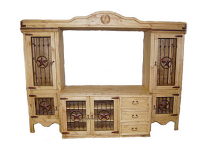 Rustic Entertainment Center with Iron Accents