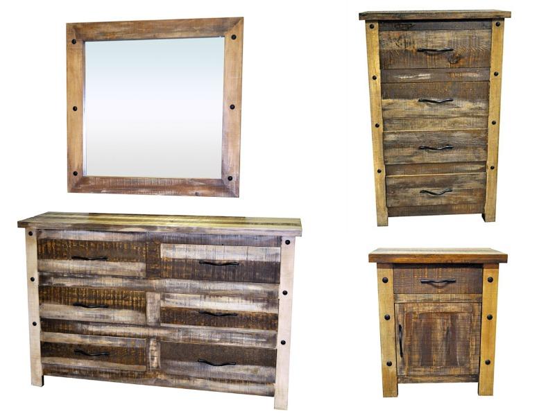 Slatted Wood Rustic Bedroom Set