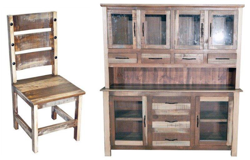 Slatted Wood Rustic Dining Room Set