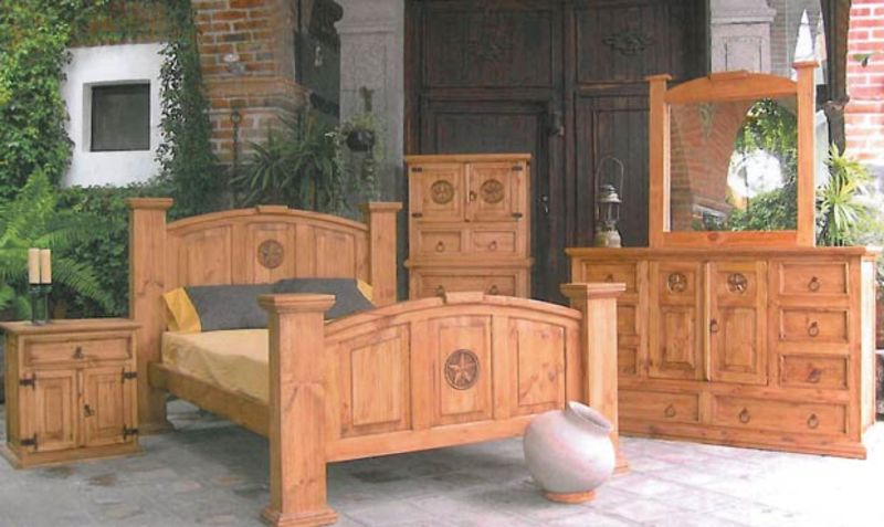 Mansion Rustic Bedroom Set with Hidden Gun Storage