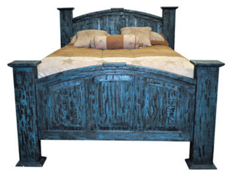 Turquoise Scrape Rustic Bedroom Set