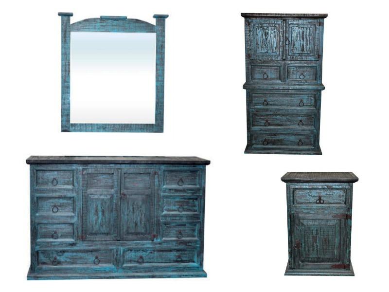 50 Turquoise Se Rustic Bedroom Set, Turquoise Distressed Bedroom Furniture
