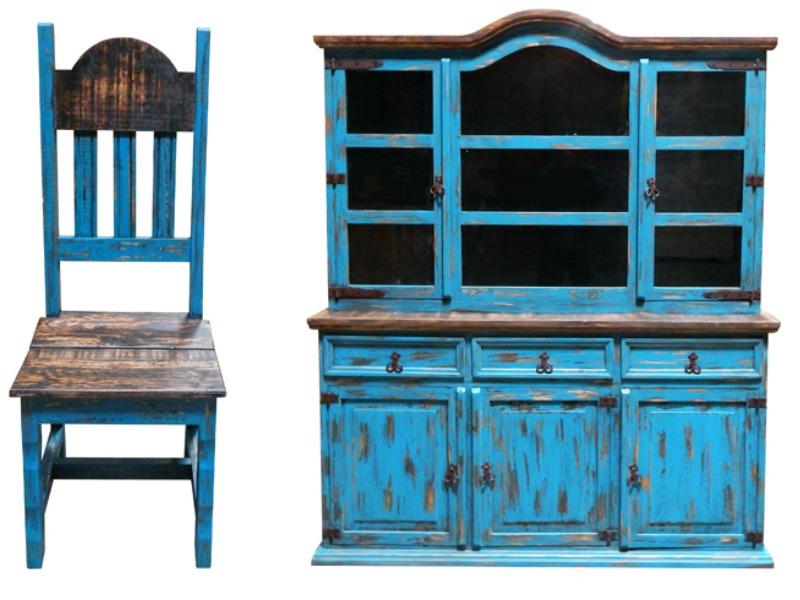 Turquoise Scrape Rustic Dining Room Set