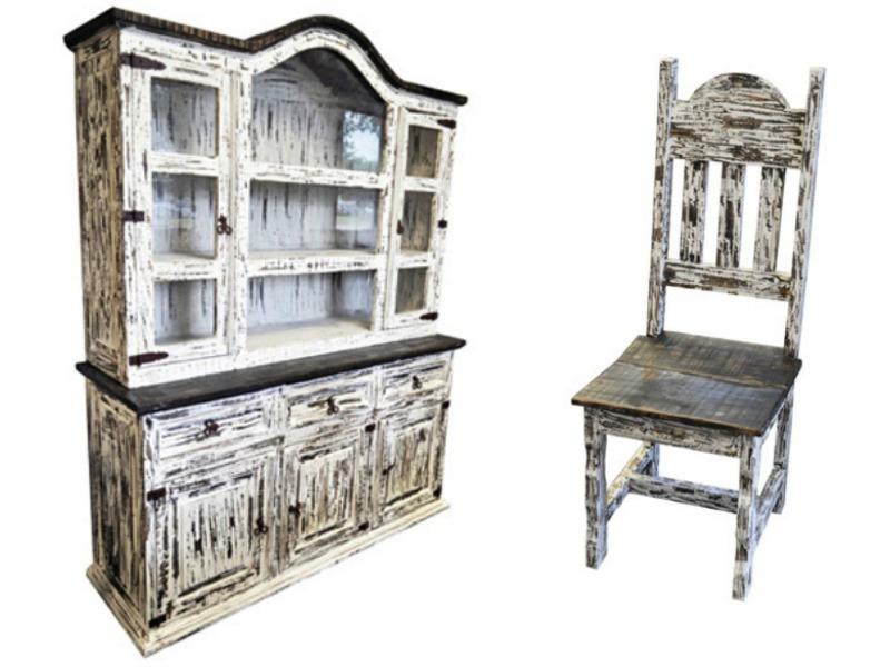 White Scraped Rustic Dining Room Set
