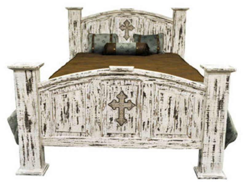 White Scrape Rustic Bedroom Set with Cross