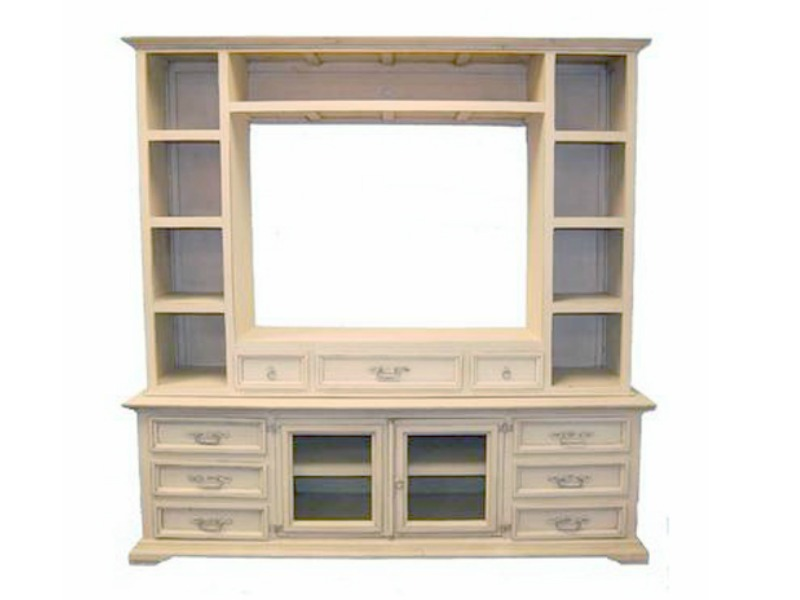 Whitewash Rustic Entertainment Center