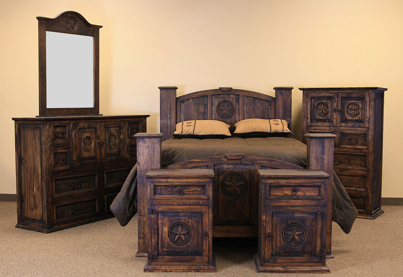 dallas designer furniture mansion with star rustic bedroom set in medio. Black Bedroom Furniture Sets. Home Design Ideas