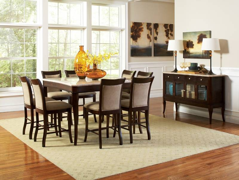 Marseille Pub Table Set with Marble Top