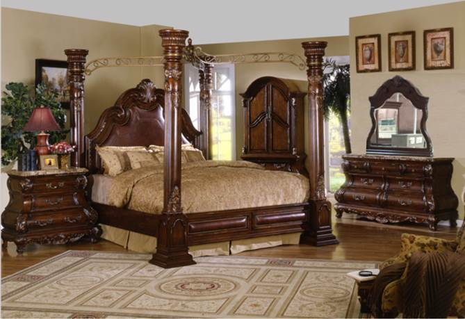 Imperial Bedroom Set with Canopy Bed in Cherry