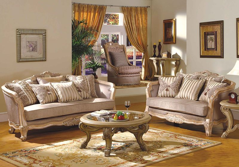 Leander formal living room set in antique white wash - Antique living room furniture sets ...
