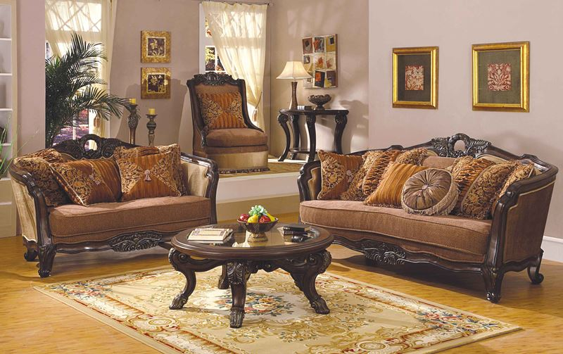 Leander Formal Living Room Set in Dark Walnut