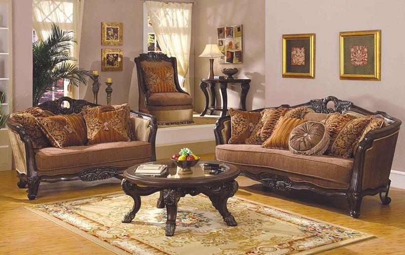 Leander Formal Living Room Set in Dark Walnut