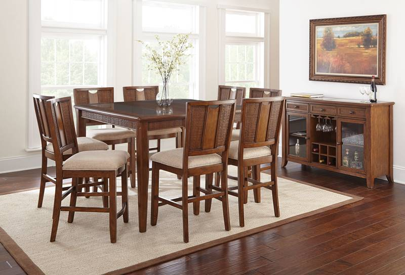 Melody Pub Table Set with Rattan Accents in Honey