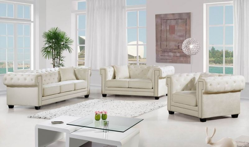 Bowery Living Room Set in Cream
