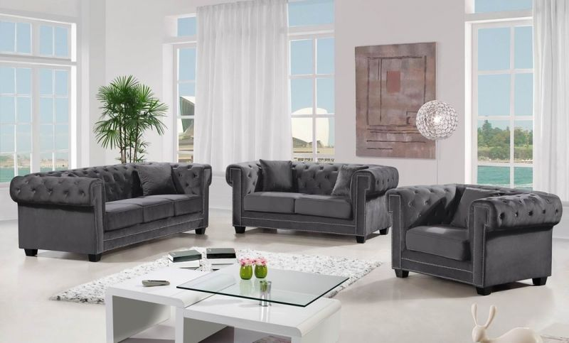 Bowery Living Room Set in Grey