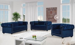Bowery Living Room Set in Navy