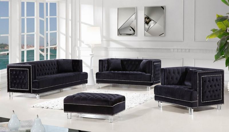Lucas Living Room Set in Black