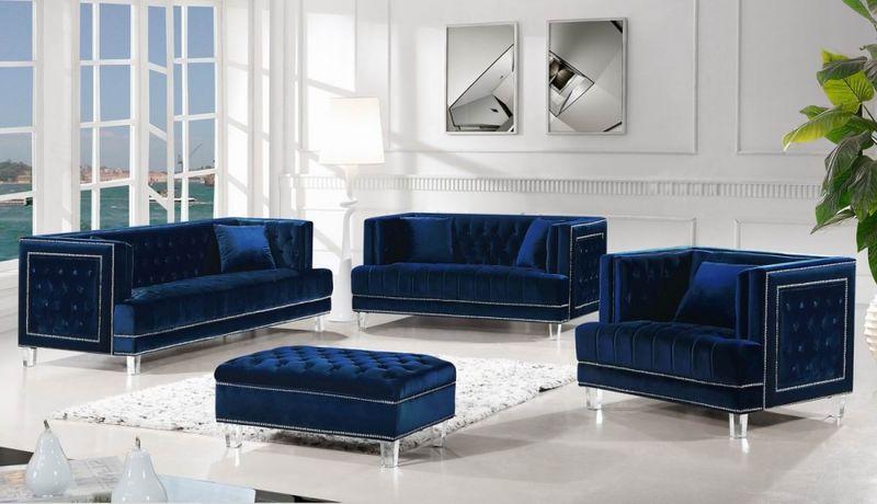Meridian 609navy S Lucas Living Room Set In Navy Dallas Designer