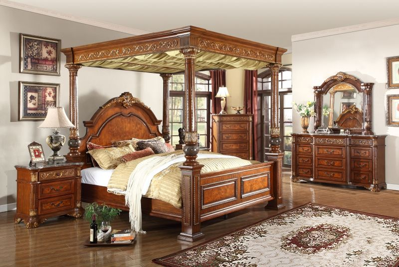 Royal Bedroom Set with Canopy Bed