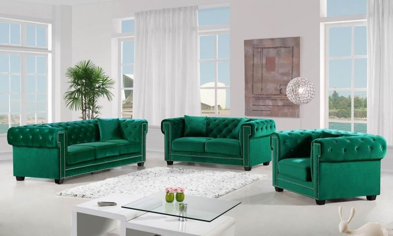 Bowery Living Room Set in Green