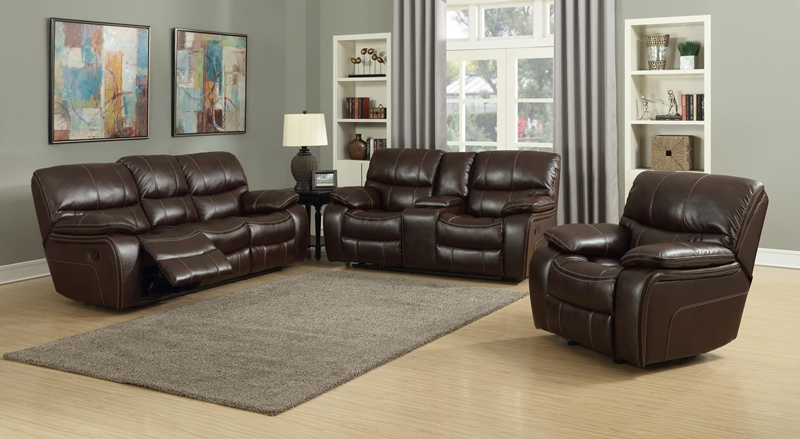 Banner Reclining Living Room Set in Brown
