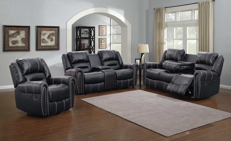 Braxton Living Room Set in Black