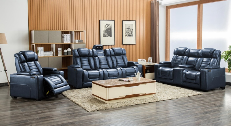 Collin Reclining Living Room Set in Navy