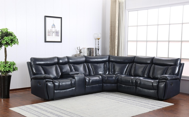 Simon Living Room Reclining Sectional in Navy