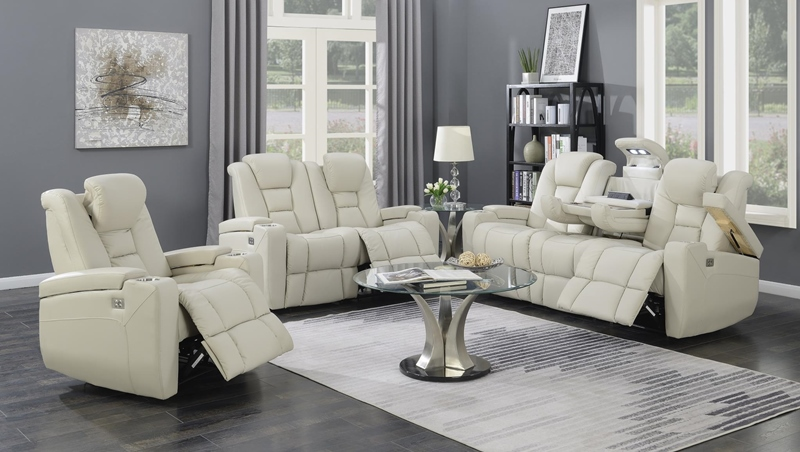 Transformers Reclining Living Room Set in Taupe