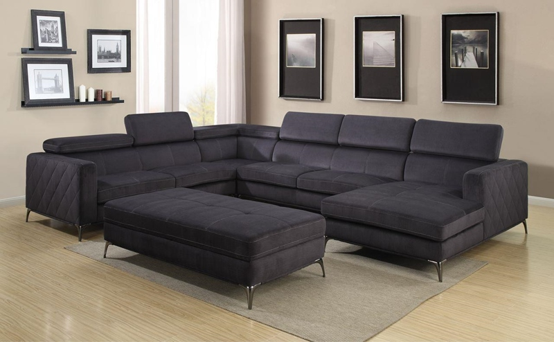 Gatsby Sectional Living Room Set in Charcoal