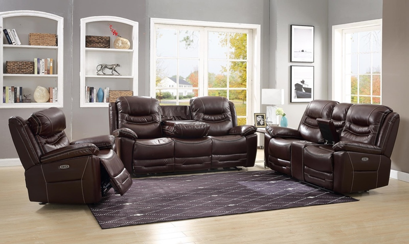 Garrett Reclining Living Room Set in Brown