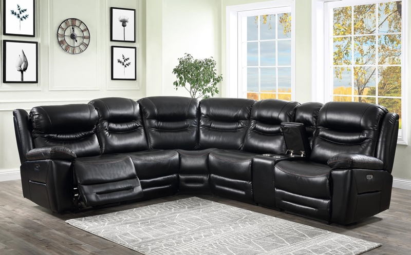 Garrett Living Room Sectional in Black