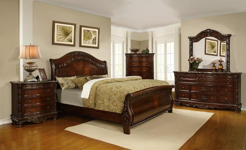 Ashton Sleigh Bedroom Set in Dark Cherry