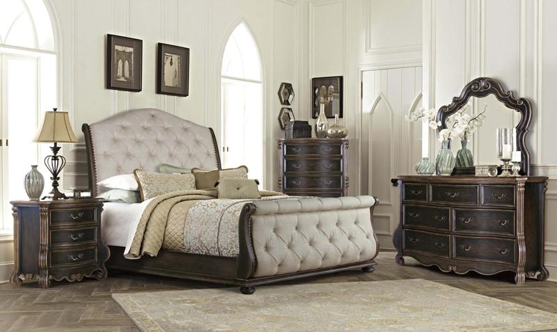 Bordeaux Sleigh Bedroom Set in Antique Brown