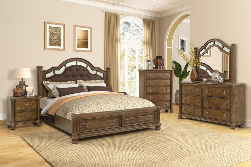Karla Storage Bedroom Set in Tri-Color Brown