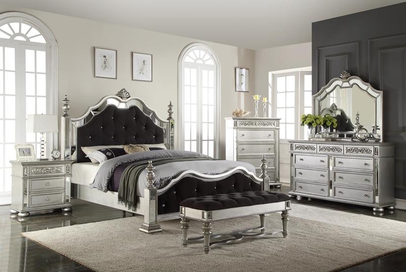 Kealynn Bedroom Set in Luminous Antique Silver