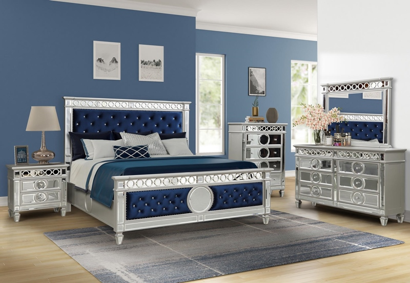 Lorient Blue Bedroom Set in Silver Finish