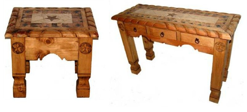Natural Rope, Star and Marble Rustic Coffee Table Set