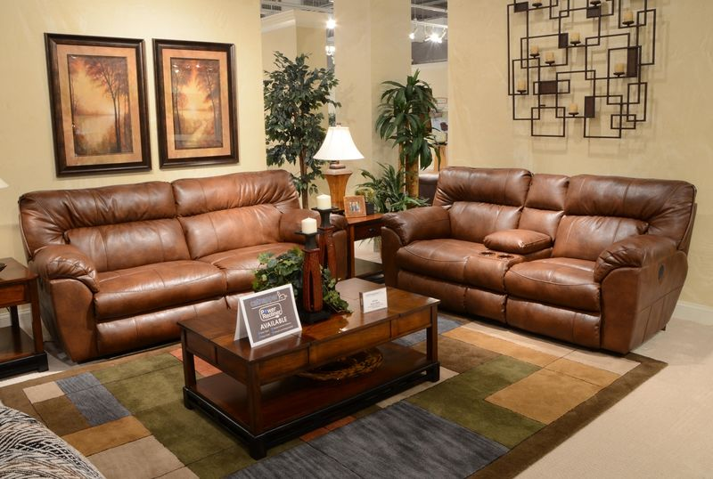 Nolan Reclining Living Room Set in Chestnut with Power Motion