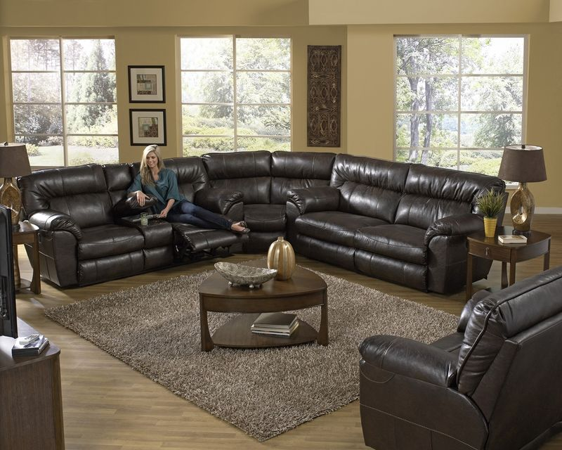 Nolan Reclining Sectional in Godiva with Power Motion